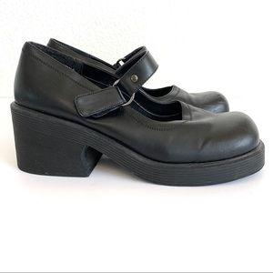 Vintage 90s Square Toe Chunky MaryJane Block Heels